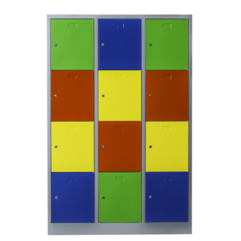 Steel cabinet with 12 colorful doors